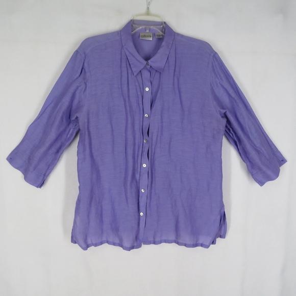 98499298e4eb2 Chico s Tops - Chico s Purple Linen Silk Button Front Shirt ...